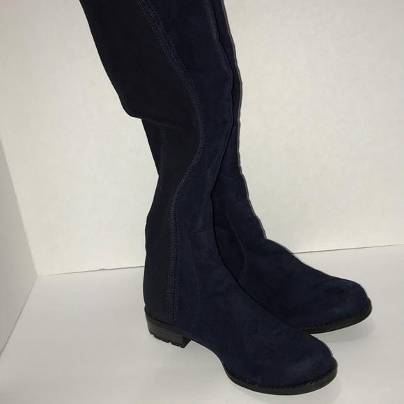 navy suede knee high boots